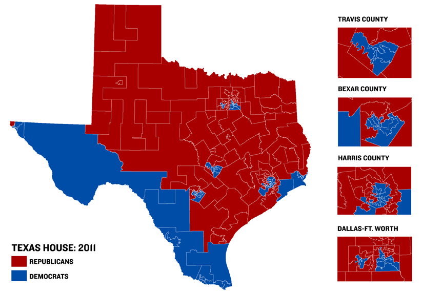 texas political map red blue Texas House Map Reflects Gop Wave The Texas Tribune