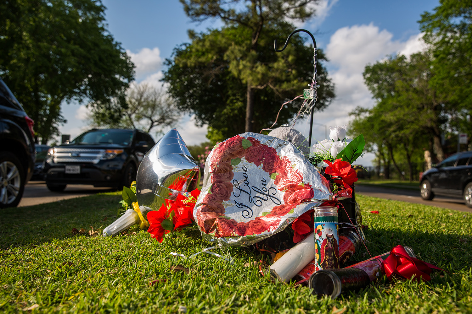 A memorial at the intersection where Danny Ray Thomas, an unarmed black man, was shot by a Harris County Sheriff's deputy in March 2018.