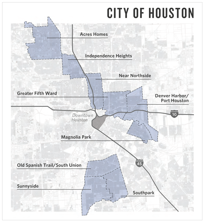 A map from a 2013 study shows some of the distressed neighborhoods where the Houston Housing Authority hoped to use Ike recovery dollars.