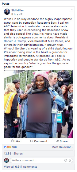A screenshot of Sid Miller's Facebook post, which has now been deleted. The fake image on Whoopi Goldberg's shirt has been edited out by The Texas Tribune.