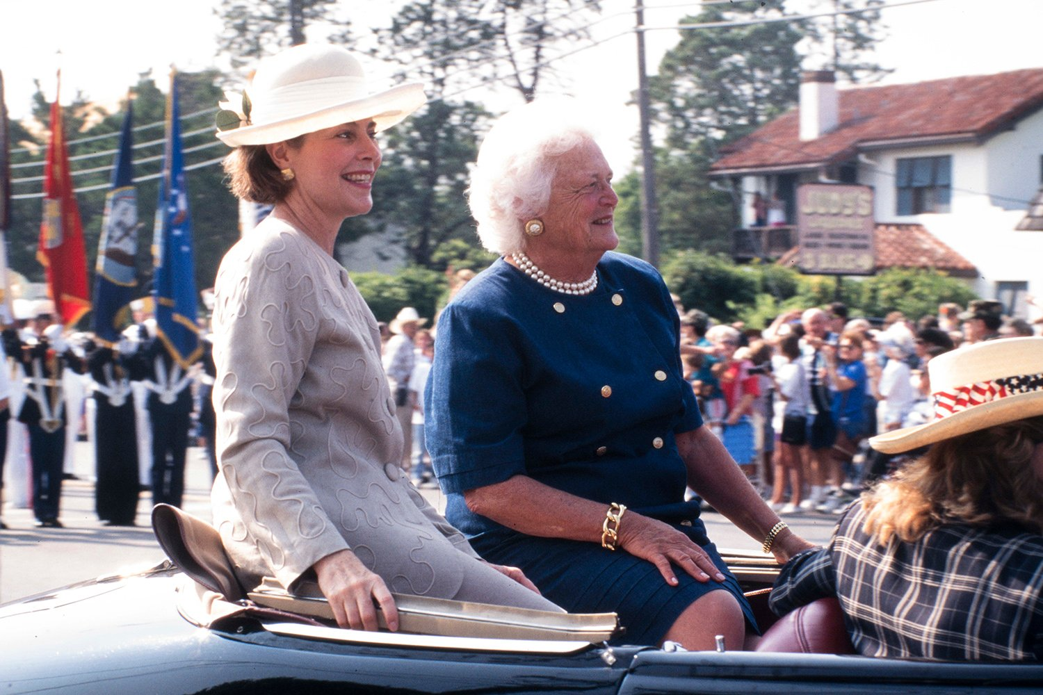 Former First Lady Barbara Bush and daughter-in-law Laura Bush attend a dedication at the Nimitz Museum in Fredricksburg on Sept. 6, 1998.
