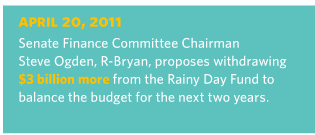 4/20/2011 Senate Finance Committee Chairman Steve Ogden, R-Bryan, proposes withdrawing $3 billion more from the Rainy Day Fund to balance the budget for the next two years.