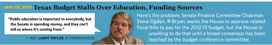 "5/18/2011 Texas Budget Stalls Over Education, Funding Sources  Rep. Larry Taylor, R-Friendswood ""Public education is important to everybody, but the Senate is spending money, and they can't tell us where it's coming from. Here's the problem: Senate Finance Committee Chairman Steve Ogden, R-Bryan wants the House to approve related fiscal bills to pay for the 2012-13 budget, but the House is unwilling to do that until a broad consensus has been reached by the budget conference committee."