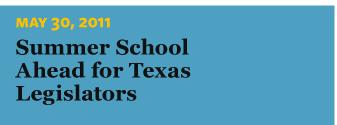 5/30/2011 Summer School Ahead for Texas Legislators