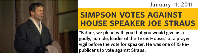 Father, we plead with you that you would give us a Godly, humble, leader of the Texas house, at a prayer vigil before the vote for Speaker. He was one of 15 Republicans to vote against Straus.