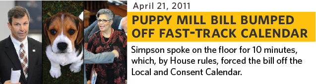 Simpson spoke on the floor for 10 minutes about the bill, which, by House rules, forced the bill off the Local and Consent calendar.