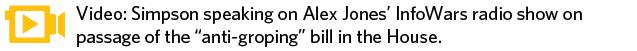 Simpson speaking on Alex Jones' InfoWars radio show on passage of House Bill 1937 in the House