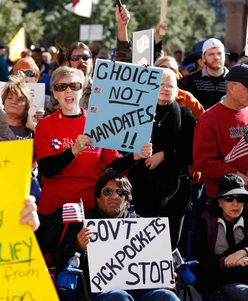 January 16, 2009: A coalition of Tea Party groups rally against Democrats and U.S. President Barack Obama Saturday afternoon at the Texas Capitol.