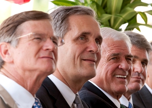 Rep. Lamar Smith, Rep. Lloyd Doggett, Rep. John Carter and Rep. Michael McCaul at groundbreaking for the new Austin United States Federal Courthouse.