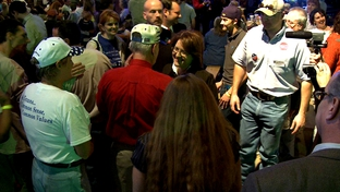 February 21, 2010. Debra Medina, flanked by supporters at an event at Texas Pride BBQ in Adkins, TX.