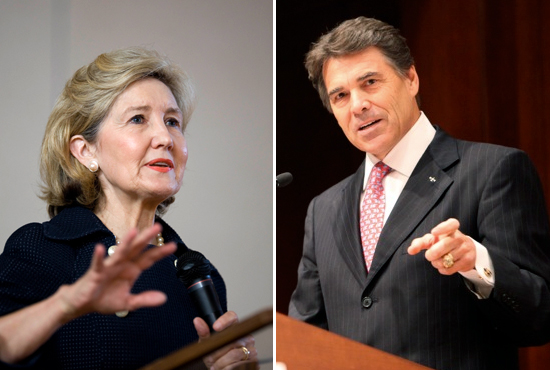 U.S. Sen. Kay Bailey Hutchison and Gov. Rick Perry.