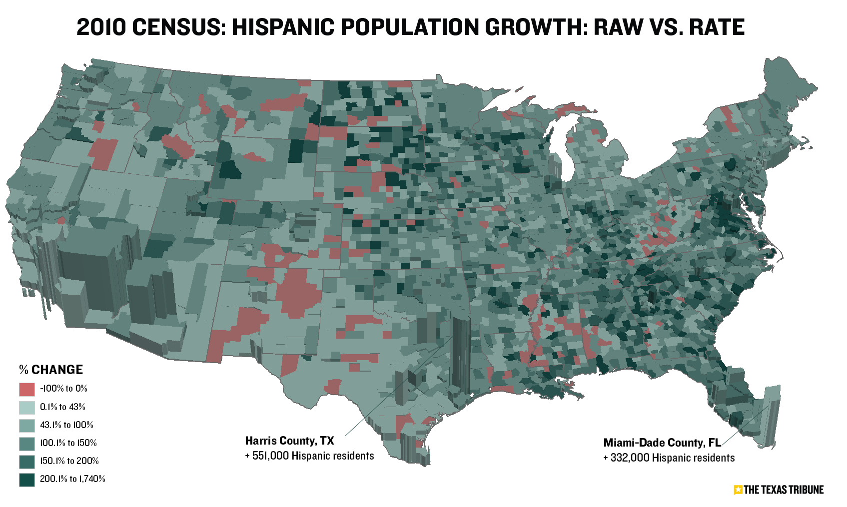 Maps Visualize Us Population Growth By County The Texas Tribune - Population-us-map
