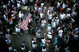 Demonstrators march through the streets of downtown Dallas in 2010 to protest the passage of Arizona's controversial new immigration law.