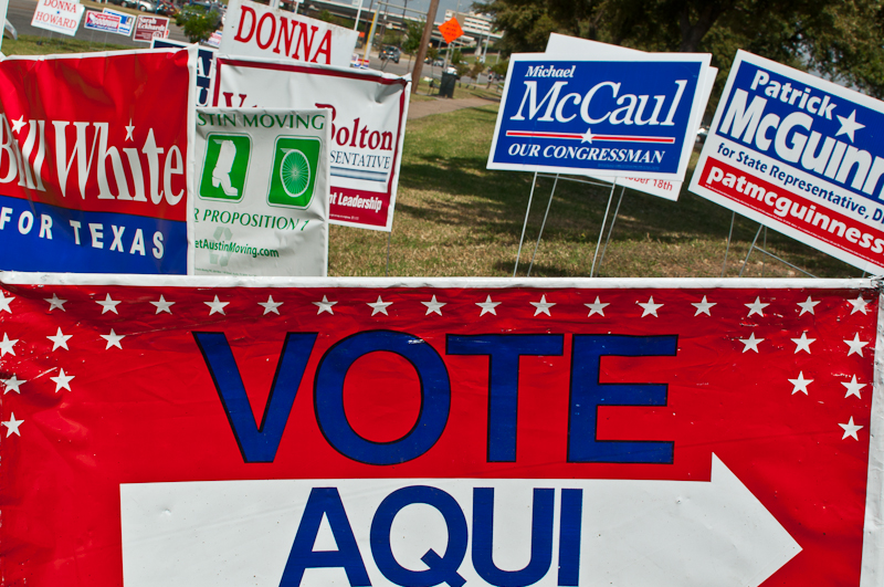 Voting signs in Austin during the 2010 election cycle.