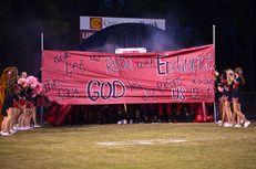 The banner displayed before the football game on Oct. 5, 2012 in Kountze, TX. The issue of whether the high school's cheerleaders can display signs with religious messages at football games has been the subject of a protracted legal fight.