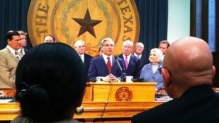 University of Texas at Brownsville President Juliet Garcia and University of Texas-Pan American President Robert Nelsen look on as University of Texas System Chancellor Francisco Cigarroa and lawmakers discuss the creation of a new university in the Rio Grande Valley.