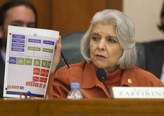 Sen. Judith Zaffirini D-Laredo, holds up chart during testimony by state auditors regarding CPRIT at Senate finance committee hearing on February 5th, 2013