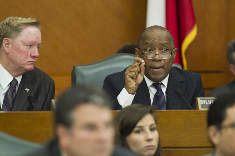 Appropriations Chairman State Rep. Jim Pitts, R-Waxahachie, l, listens as State Rep. Sylvester Turner, D-Houston, grills state auditors on CPRIT matters on Feb. 6, 2013