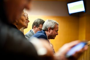 Michael Morton watches as the court of inquiry explores former Williamson County District Attorney Ken Anderson's role in Morton's wrongful conviction, on Feb. 6, 2013.