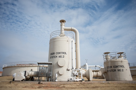 Odor Control tanks stand outside the Wastewater Treatment Plant in Wichita Falls, on Friday, January 25, 2013.