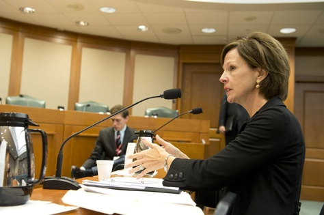Science educator Barbara Cargill of The Woodlands speaks to the Senate Nominations Committee about her nomination as chair of the State Board of Education on Feb. 11, 2013.