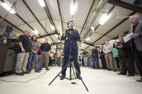 U.S. Sen. Ted Cruz speaks to LaRue Tactical employees and the press about gun rights on Feb. 19, 2013.
