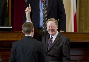 House  Appropriations Chair, Rep. Jim Pitts R-Waxahachie with a big smile as he votes on House supplemental bill HB 10  on February 21st, 2013