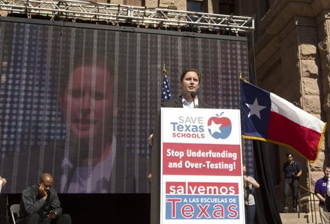 Former TEA Commissioner Robert Scott speaks at Save our School's rally at Texas Capitol on February 23rd, 2013
