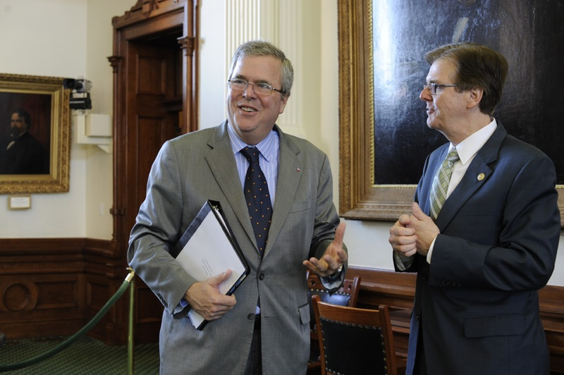 Education consultant and former Florida Gov. Jeb Bush, l, visits with Sen. Dan Patrick, R-Houston, before the Senate Education Committee on Feb. 27, 2013.