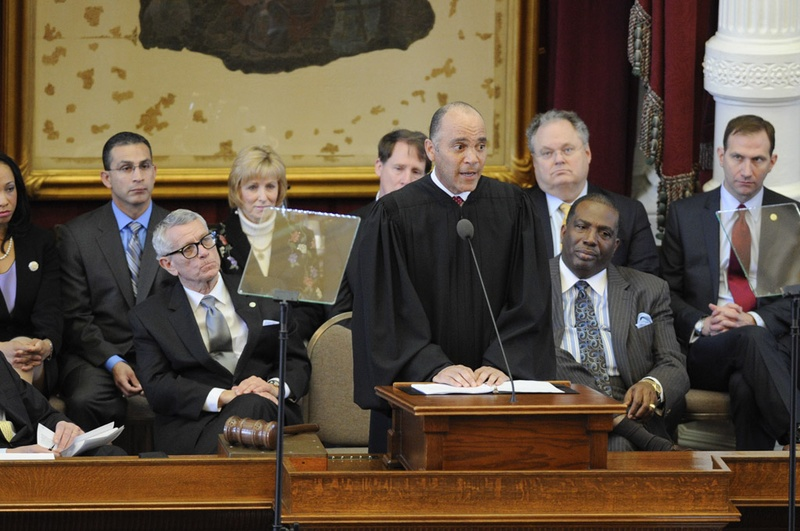 Chief Justice Wallace Jefferson delivers his State of the Judiciary speech in the House chamber on Mar. 6, 2013.