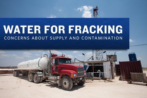 A water truck parked near a West Texas drilling rig. Oil and gas companies' use of water for hydraulic fracturing has sparked growing concerns.