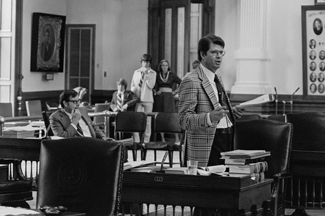 Texas Sen. Bil Meier during his 43 hour filibuster in 1977.