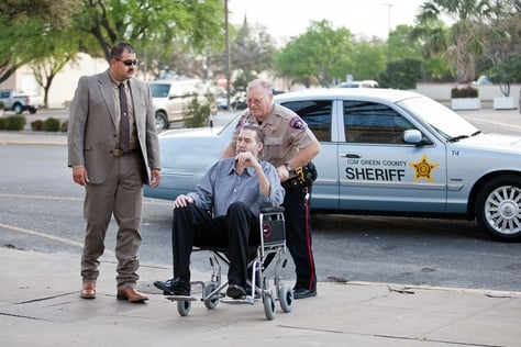 Defendant Mark Norwood enters the Tom Green County Courthouse for opening hearings, Mar 19, 2013.