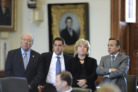 "Senators Juan ""Chuy"" Hinojosa, D-Edinburg, l, Glenn Hegar, R-Katy,  Jane Nelson, R-Flower Mound and Carlos Uresti, D-San Antonio listen to SB 1 budget debate wrap-up on March 20, 2013."