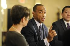 State Rep. Scott Turner, R-Frisco, makes a point at Triblive on March 21, 2013.