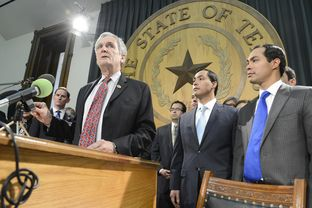 U.S. Rep. Lloyd Doggett, D-Austin, urges Texas leaders to accept Medicaid expansion as U.S. Rep. Joaquin Castro, D-San Antonio, and then-San Antonio Mayor Julian Castro listen on April 1, 2013.