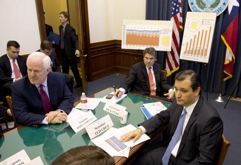 U.S. Sen John Cornyn, Gov. Rick Perry and U.S. Sen. Ted Cruz discussing Medicaid at the Capitol in April 1, 2013.