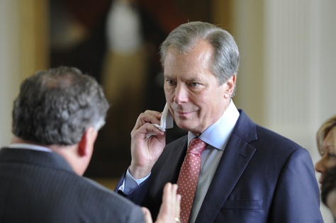 Lt. Gov. David Dewhurst listens to Sen. Tommy Williams, R-The Woodlands, during the Senate session on April 2, 2013.