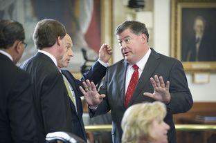 State. Sen Tommy Williams, R-The Woodlands, negotiates with a group of senators, including John Whitmire, D-Houston, on a prison health care measure on April 2, 2013.