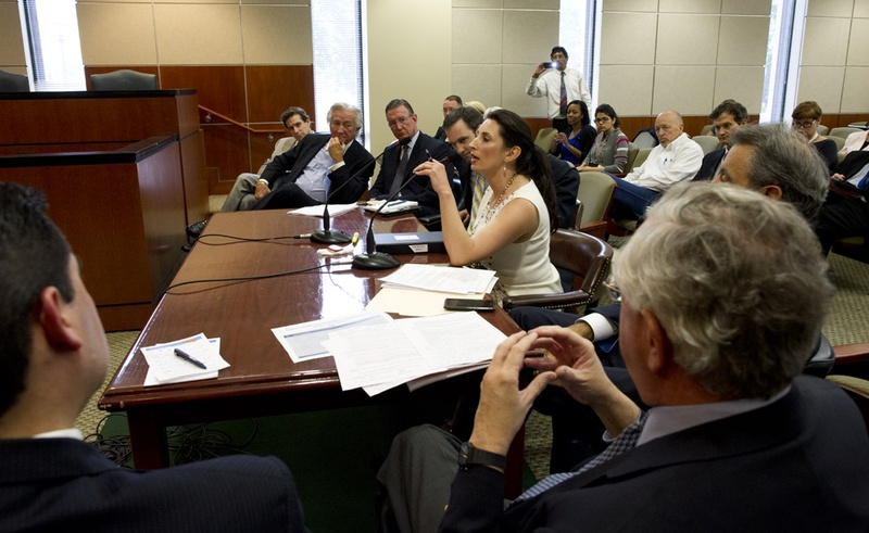 Current and former CPRIT Oversight Committee members testify before the House Transparency Committee on April 9, 2013.