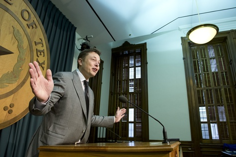Entrepreneur Elon Musk talks to the Capitol press corps about his frustration in selling Tesla electric cars in Texas on April 10, 2013.