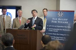 Gov. Rick Perry announced plans for a tax cut aimed at Texas small businesses on April 15, 2013, at the Austin Chamber of Commerce.