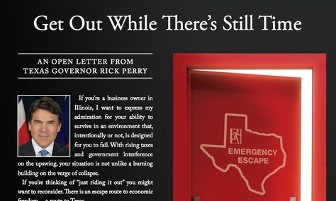 A screenshot of a TexasOne ad in Crain's Chicago Business Journal aimed at Illinois businesses.