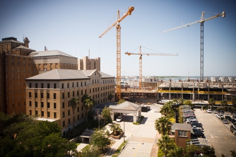 A new area of UTMB being built to higher standards in Galveston Monday, April 22, 2013.