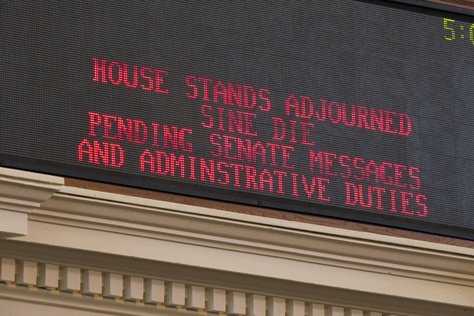 The sign in the House chamber signaling the end of the 83rd regular session at 5:03 PM May 27, 2013.