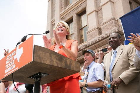 Sen. Wendy Davis addresses the Stand with Texas Women Rally crowd at the State Capitol the first day of the 2nd special session.
