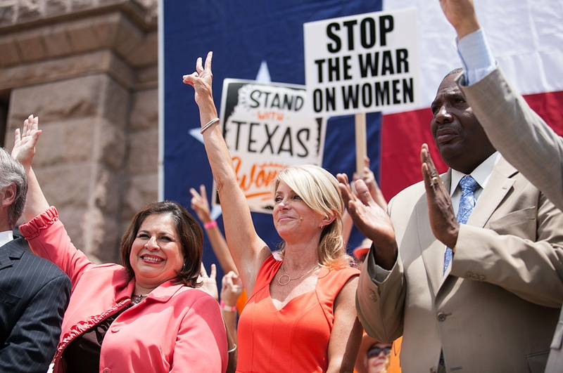 Sen. Leticia Van de Putte, Sen. Wendy Davis, and Sen. Royce West took part in the Stand with Texas Women Rally at the Capitol on July 1, 2013.