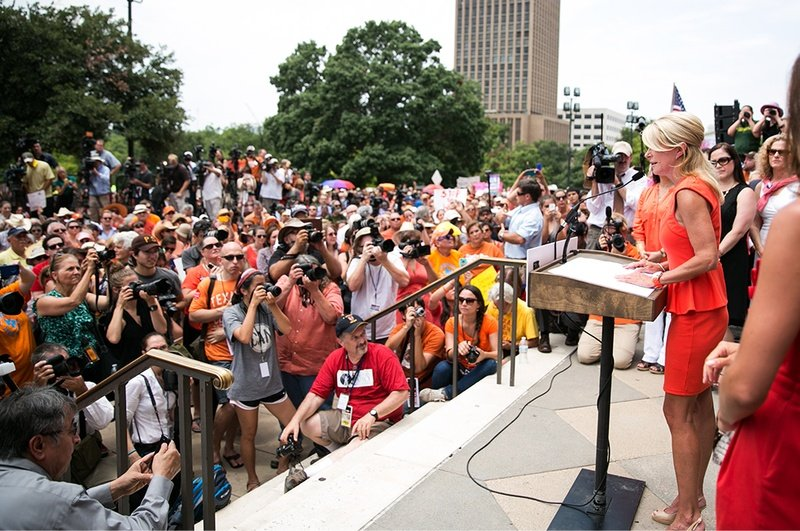 Sen. Wendy Davis addresses the Stand with Texas Women Rally crowd at the state Capitol the first day of the second special session.