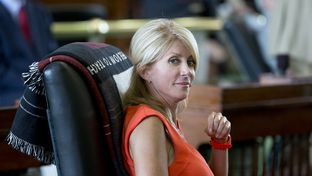 State Sen. Wendy Davis, D-Fort Worth, on the Senate floor on July 1, 2013.