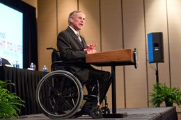 Attorney General Greg Abbott speaks at a National Right to Life convention in June 2013.